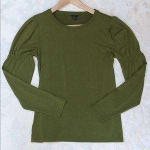 Ann Taylor Olive Ruffle Long Sleeve Wool-Blend Tee